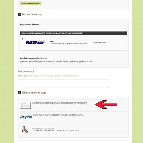 Escoger forma de pago