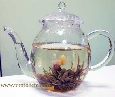 flor de té en tetera de cristal