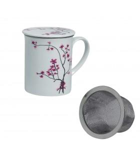 Taza para té con Filtro White Cherry