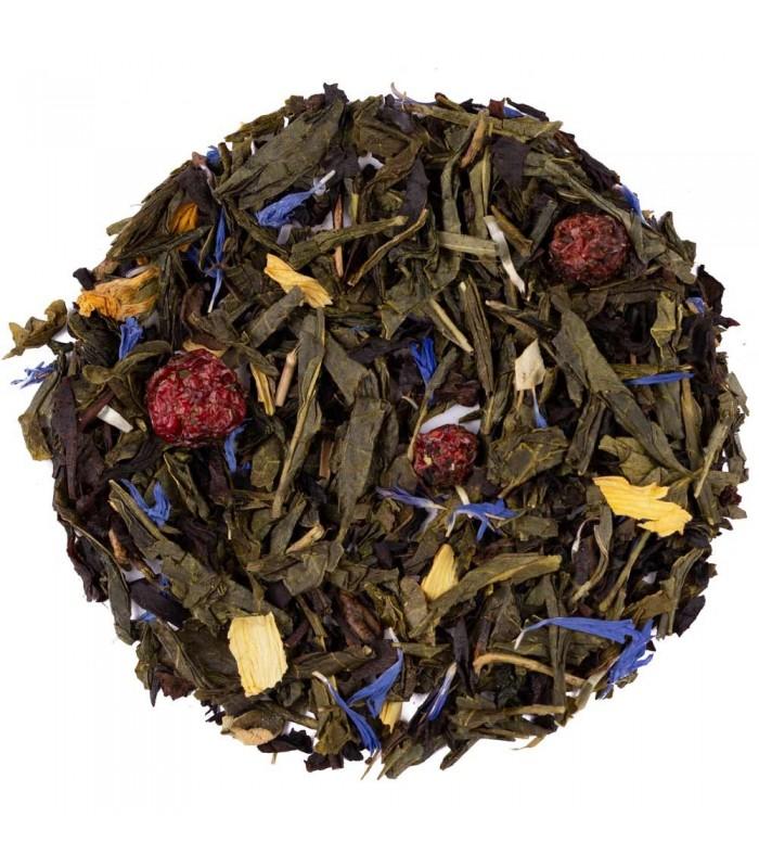 té verde y azul con grosella